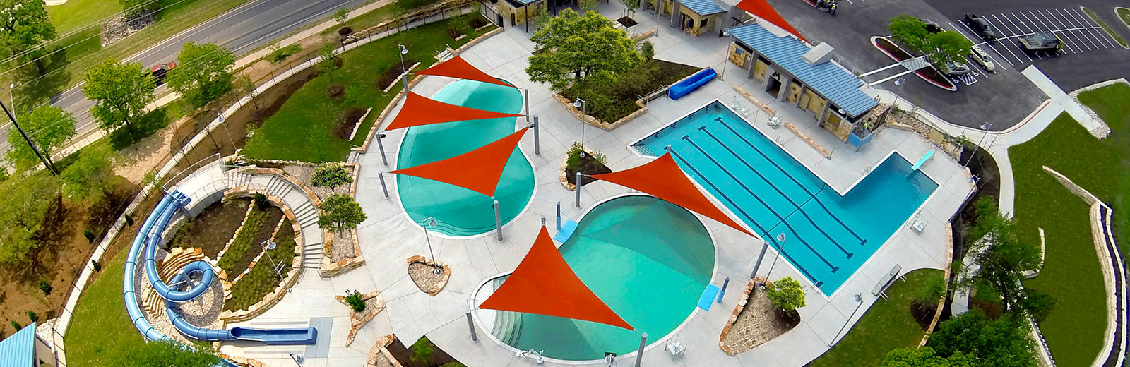 Triangle Sails Over Pool